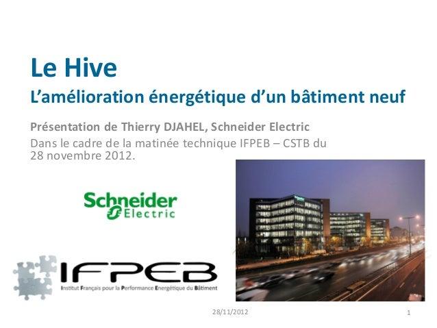Le HiveL'amélioration énergétique d'un bâtiment neufPrésentation de Thierry DJAHEL, Schneider ElectricDans le cadre de la ...