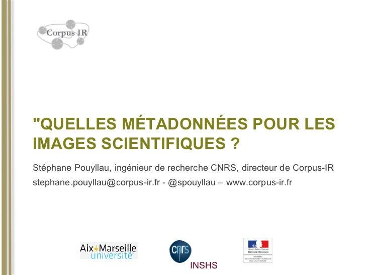 """""""QUELLES MÉTADONNÉES POUR LESIMAGES SCIENTIFIQUES ?Stéphane Pouyllau, ingénieur de recherche CNRS, directeur de Corpus-IRs..."""
