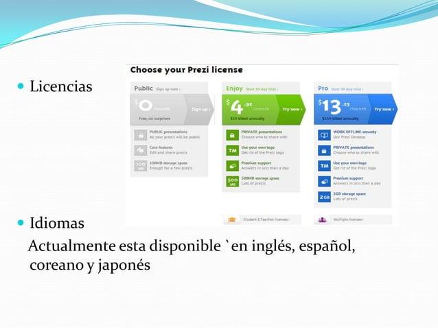  Licencias IdiomasActualmente esta disponible `en inglés, español,coreano y japonés