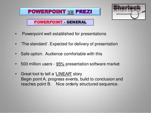 prezi vs powerpoint About 6 weeks ago we reported on the release of prezi for business (prezi's latest version specifically for business presentations) and that one of their major new features was interactivity in a nutshell, the new version gave presenters the ability to jump to specific content at the click of a.