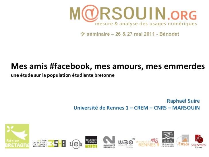 Mes amis #facebook, mes amours, mes emmerdes une étude sur la population étudiante bretonne Raphaël Suire Université de Re...