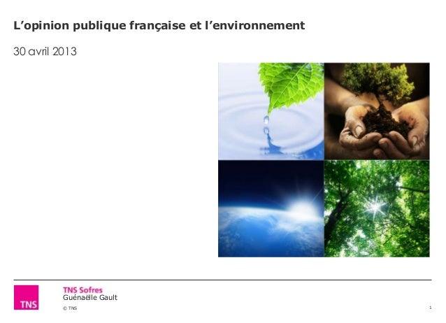 Guénaëlle Gault© TNSL'opinion publique française et l'environnement30 avril 20131