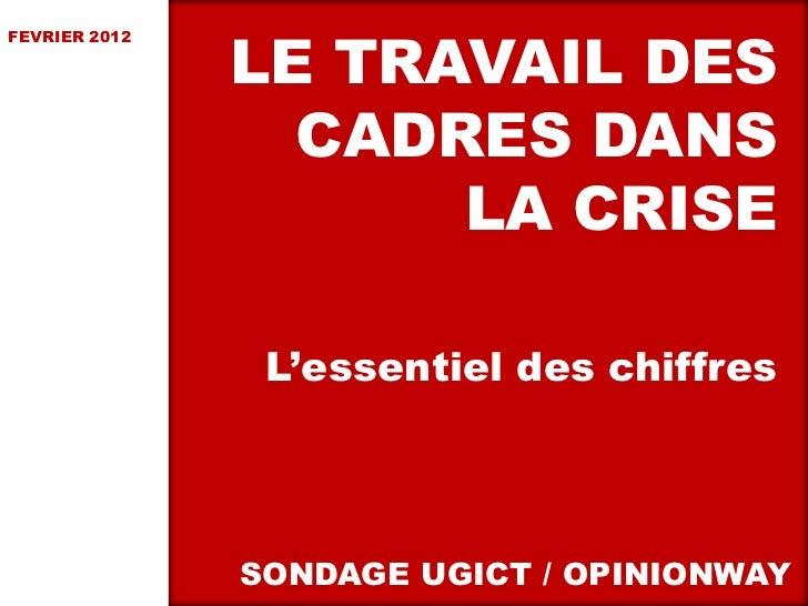 LE TRAVAIL DESFEVRIER 2012                 CADRES DANS                     LA CRISE                L'essentiel des chiffre...