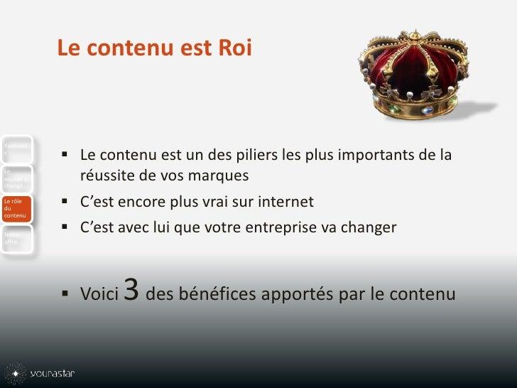 Le contenu est Roi<br />Le contenu est un des piliers les plus importants de la réussite de vos marques<br />C'est encore ...