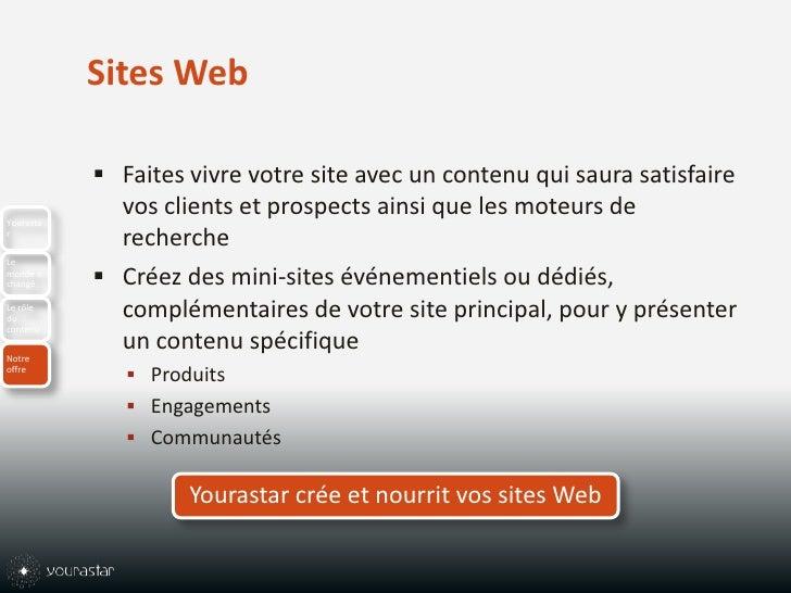 Sites Web<br />Faites vivre votre site avec un contenu qui saura satisfaire vos clients et prospects ainsi que les moteurs...