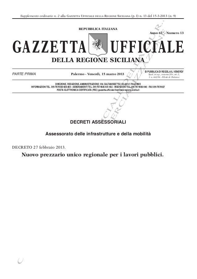.   Supplemento ordinario n. 2 alla GAZZETTA UFFICIALE                  DELLA    REGIONE SICILIANA (p. I) n. 13 del 15-3-2...