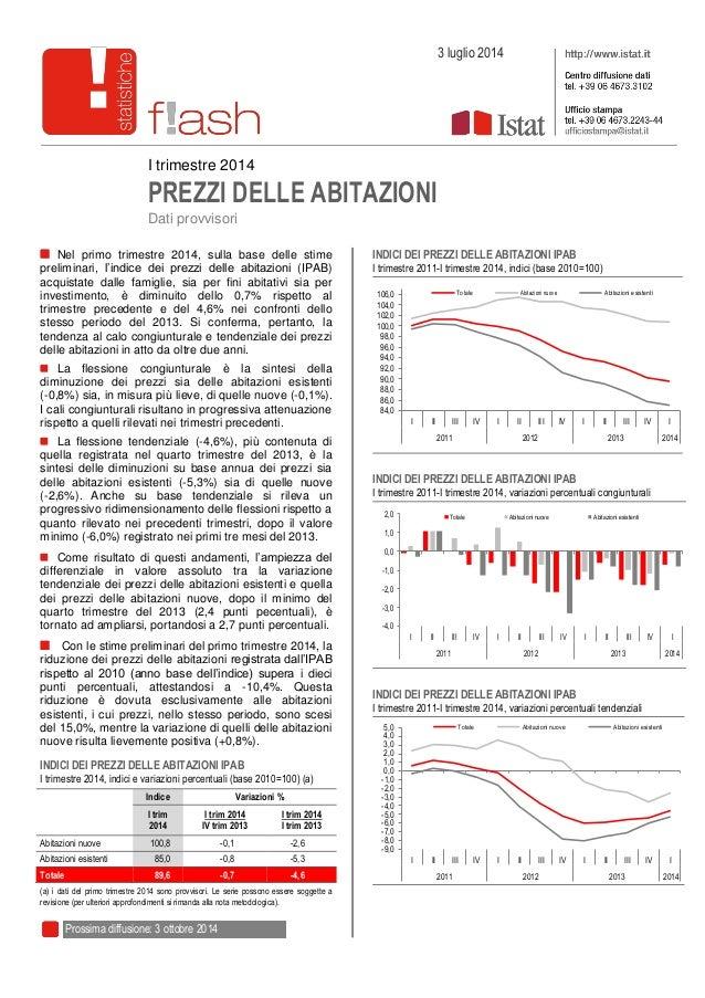 I trimestre 2014 PREZZI DELLE ABITAZIONI Dati provvisori Nel primo trimestre 2014, sulla base delle stime preliminari, l'i...