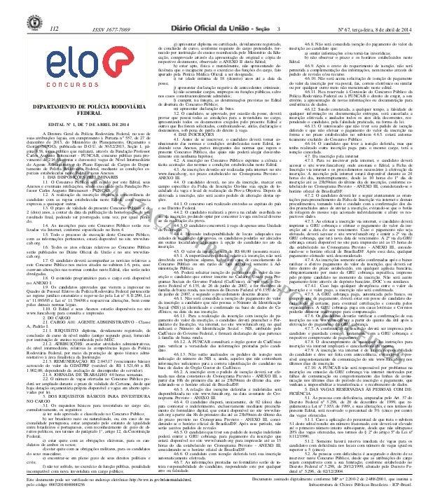 Nº 67, terça-feira, 8 de abril de 2014112 ISSN 1677-7069 COMERCIALIZAÇÃO PROIBIDA POR TERCEIROS Este documento pode ser ve...