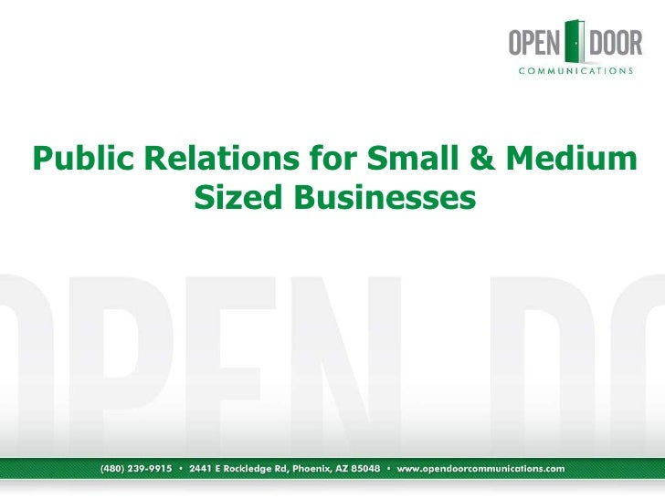 Public Relations for Small & Medium Sized Businesses<br />