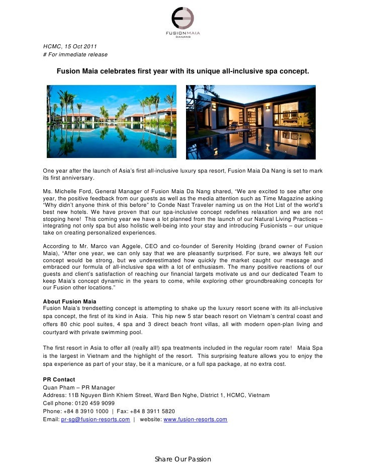 HCMC, 15 Oct 2011# For immediate release     Fusion Maia celebrates first year with its unique all-inclusive spa concept.O...