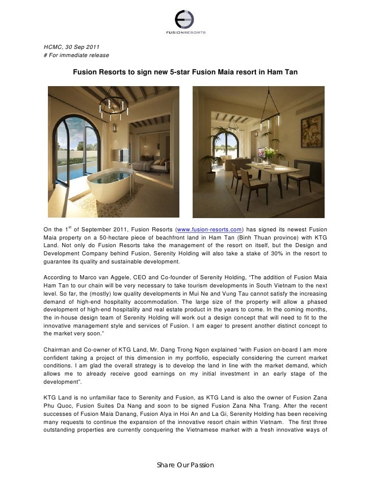HCMC, 30 Sep 2011# For immediate release          Fusion Resorts to sign new 5-star Fusion Maia resort in Ham TanOn the 1s...