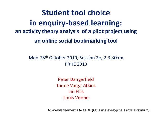 Student tool choice in enquiry-based learning: an activity theory analysis of a pilot project using an online social bookm...