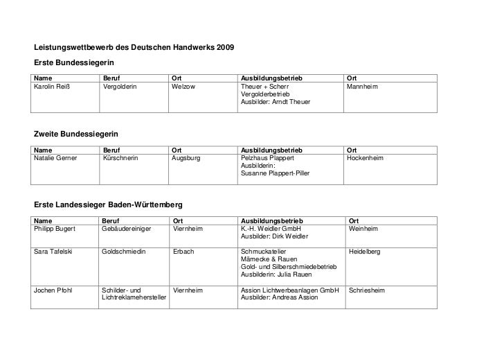 Leistungswettbewerb des Deutschen Handwerks 2009Erste BundessiegerinName             Beruf                 Ort          Au...