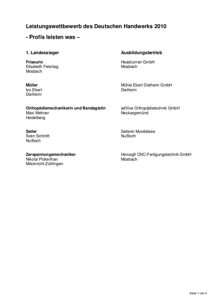 Leistungswettbewerb des Deutschen Handwerks 2010- Profis leisten was –1. Landessieger                          Ausbildungs...