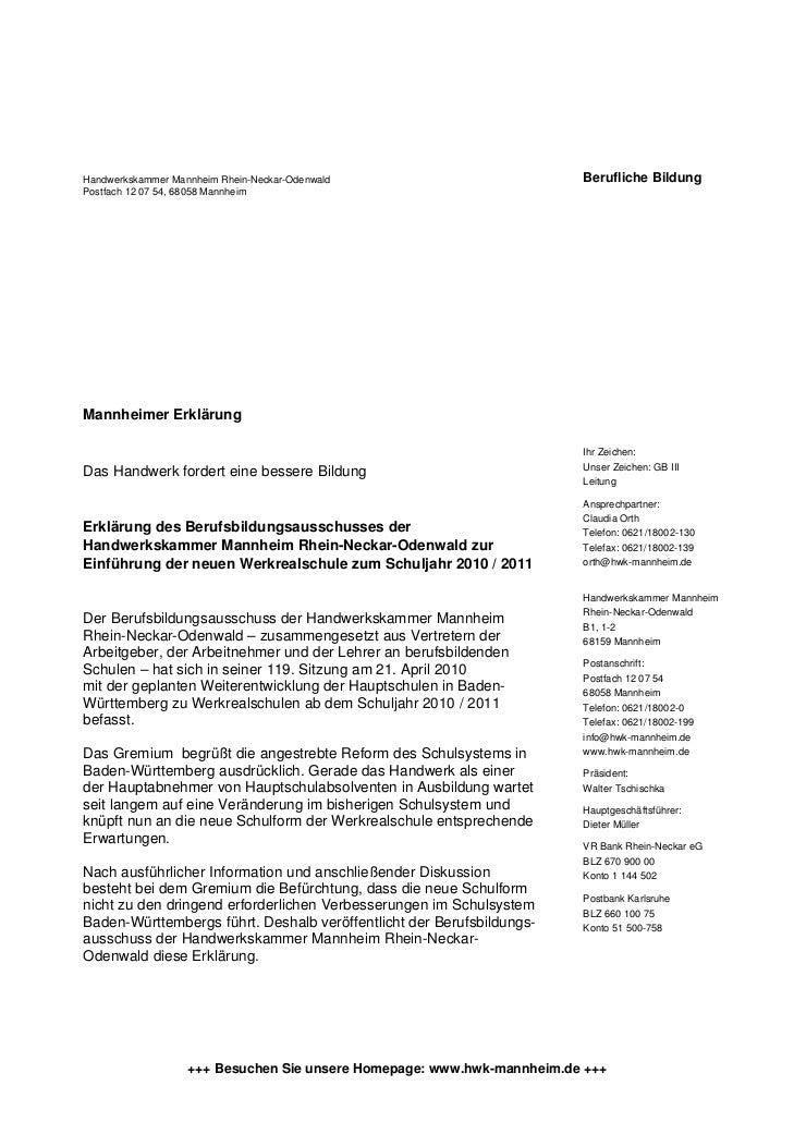 Handwerkskammer Mannheim Rhein-Neckar-Odenwald                          Berufliche BildungPostfach 12 07 54, 68058 Mannhei...