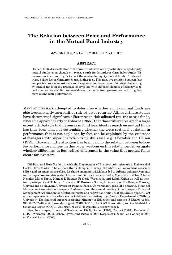 THE JOURNAL OF FINANCE • VOL. LXIV, NO. 5 • OCTOBER 2009    The Relation between Price and Performance            in the M...