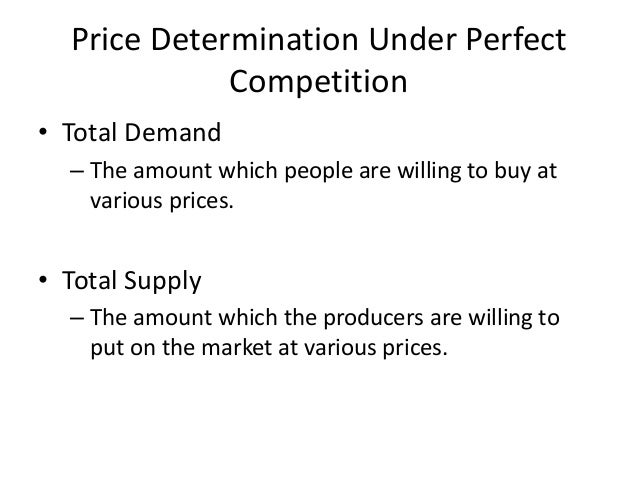in perfect competition prices are controlled by