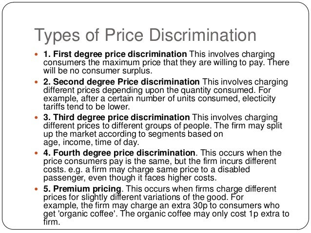 the three conditions of price discrimination This thesis studies the price discrimination through the drug's market using the  data  it must satisfy three conditions to take the price discrimination first, the.