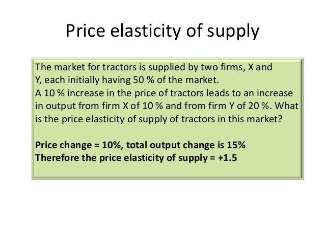 price elasticity of supply Advertisements: some of the important methods for measuring price elasticity of supply are as follows this concept is parallel to the concept of price elasticity of demand it points out the reaction of the sellers to a particular change in the price of the commodity it explains the.