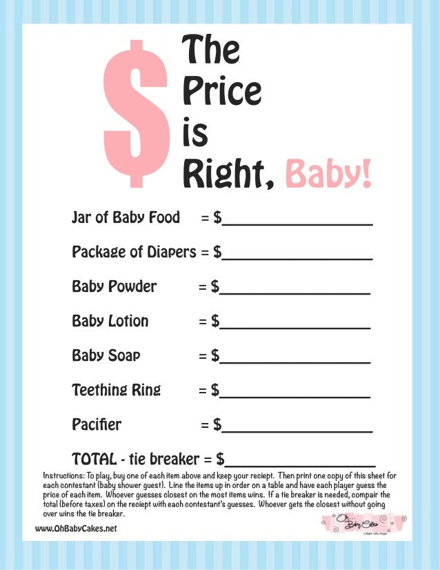 The price is right baby shower game blue for Price is right powerpoint template