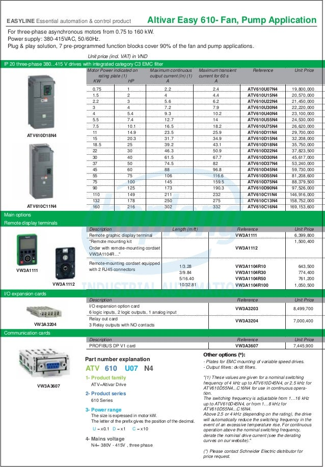 ATV310 , ATV610 , Bảng giá Easyline Schneider Hoplongtech