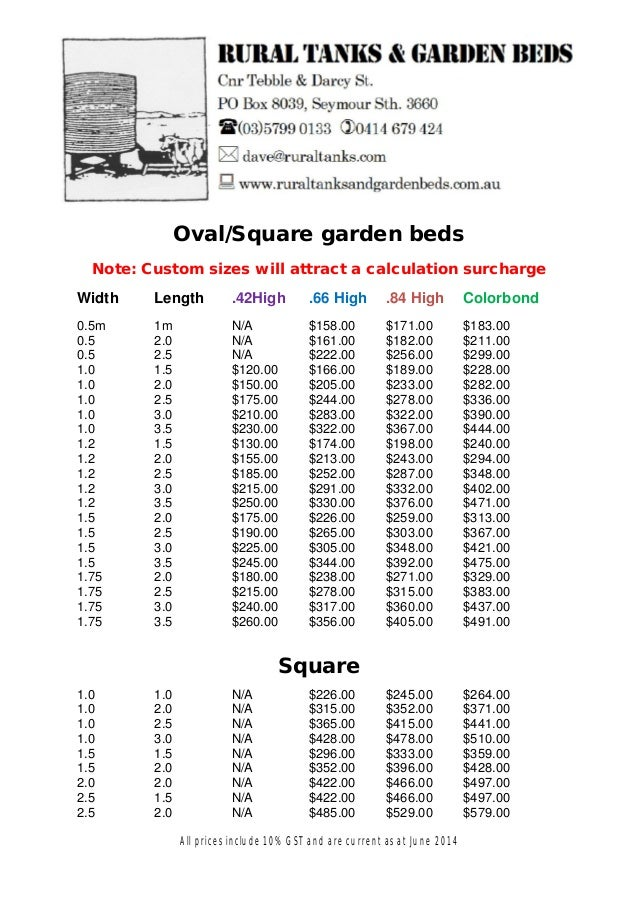 Oval/Square garden beds Note: Custom sizes will attract a calculation surcharge Width Length .42High .66 High .84 High Col...