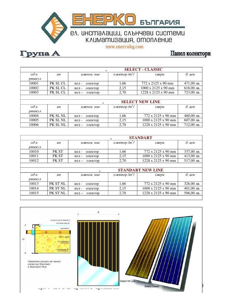 ПАНЕЛ КОЛЕКТОР, МЕДЕН SELECT - CLASSIC  Код на      Тип         Наименование    Колектор /m2/        Размери          Ед. ...