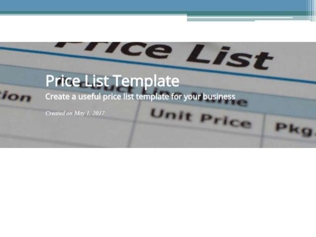 Price List Template  WwwNowinstoreCom