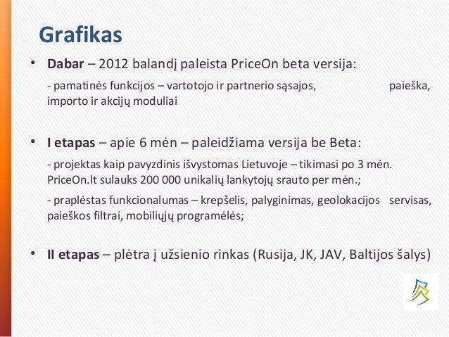 Grafikas • Dabar – 2012 balandį paleista PriceOn beta versija: - pamatinės funkcijos – vartotojo ir partnerio sąsajos, pai...