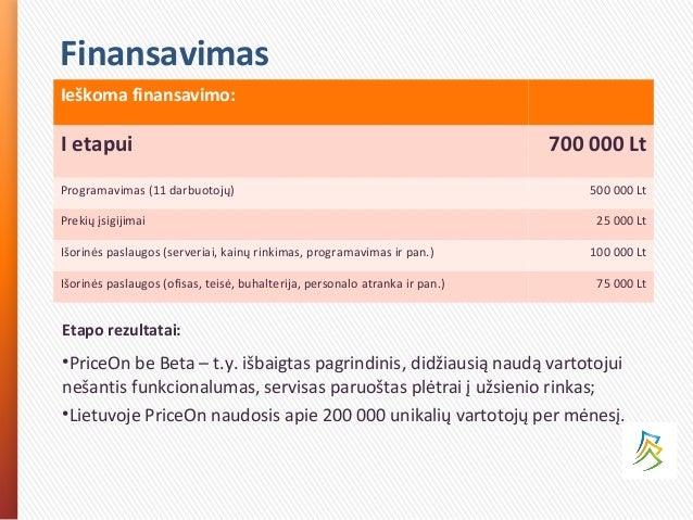 Finansavimas Ieškoma finansavimo: I etapui 700 000 Lt Programavimas (11 darbuotojų) 500 000 Lt Prekių įsigijimai 25 000 Lt...