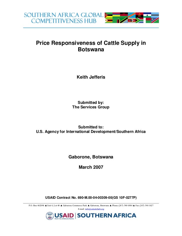 Price Responsiveness of Cattle Supply in                     Botswana                                              Keith J...