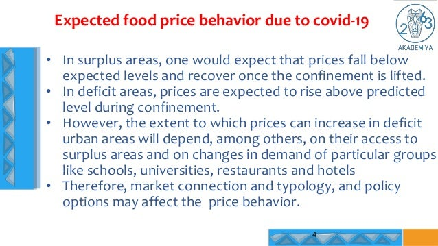 Expected food price behavior due to covid-19 4 • In surplus areas, one would expect that prices fall below expected levels...