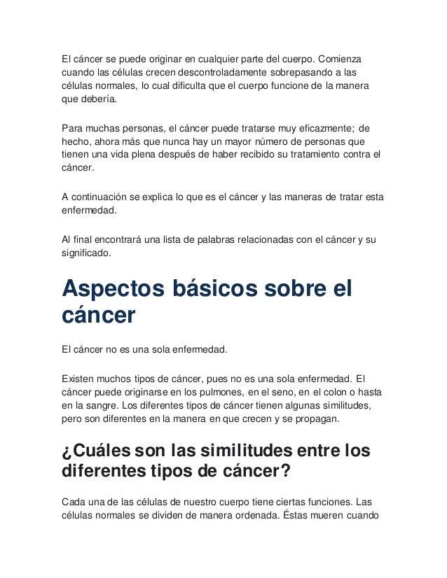 listado de los tipos de cancer