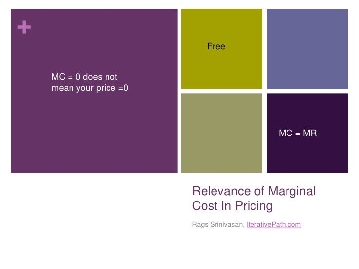 Relevance of Marginal Cost In Pricing<br />Rags Srinivasan, IterativePath.com<br />Free<br />MC = 0 does not mean your pri...