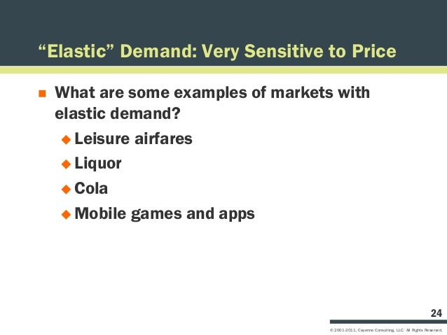 """""""Elastic"""" Demand: Very Sensitive to Price   What are some examples of markets with    elastic demand?      Leisure airfa..."""