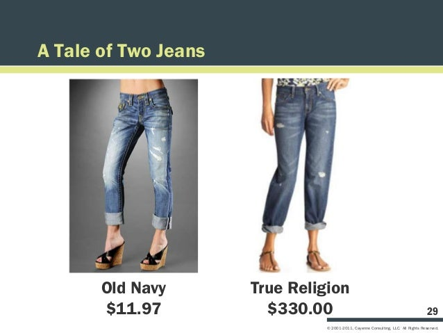 A Tale of Two Jeans       Old Navy       True Religion       $11.97           $330.00                                     ...