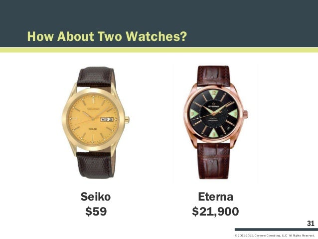 How About Two Watches?       Seiko              Eterna        $59              $21,900                                    ...