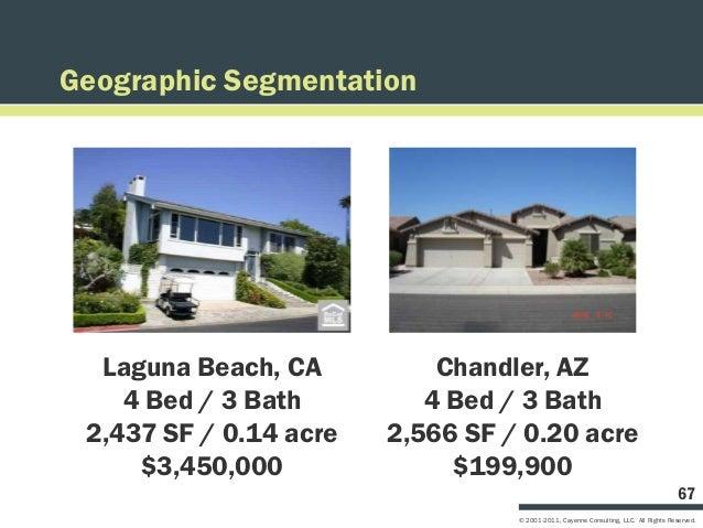 Geographic Segmentation  Laguna Beach, CA          Chandler, AZ    4 Bed / 3 Bath         4 Bed / 3 Bath 2,437 SF / 0.14 a...