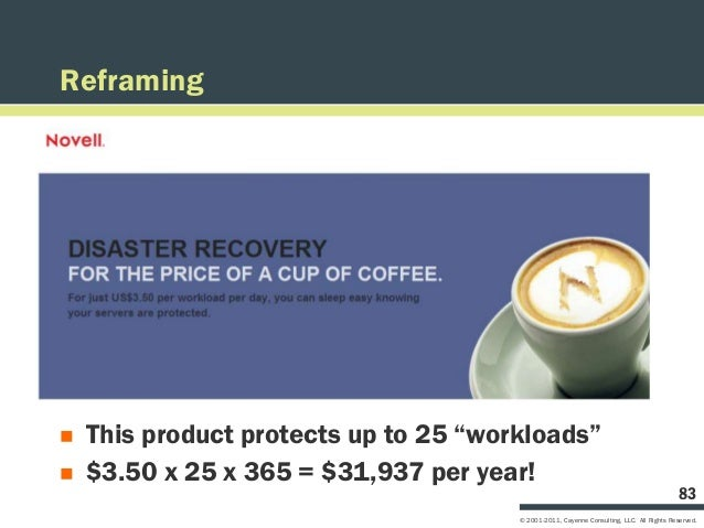 """Reframing   This product protects up to 25 """"workloads""""   $3.50 x 25 x 365 = $31,937 per year!                           ..."""