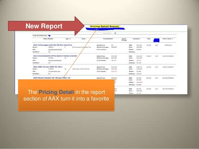 New Report The Pricing Detail in the report section of AAX turn it into a favorite