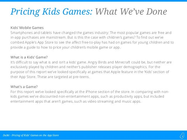 Pricing of Kids' Games on the App Store
