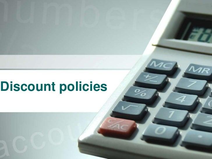 Discount policies<br />