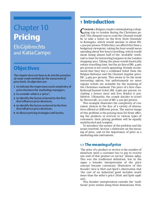 Chapter10 Pricing ElsGijsbrechts and KatiaCampo Objectives This chapter does not have as its aim the provision of ready-ma...