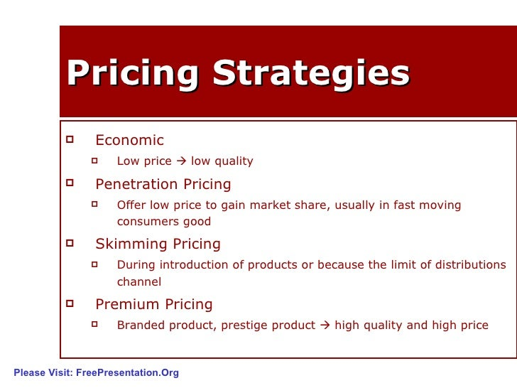 pricing strategy Use the pricing strategy matrix to help you to decide how much to charge for your  product or service, so that it achieves its true earning potential.