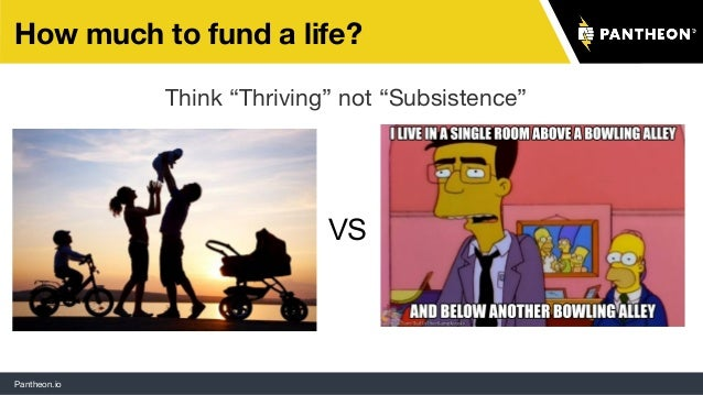 """Pantheon.io How much to fund a life? Think """"Thriving"""" not """"Subsistence"""" VS"""