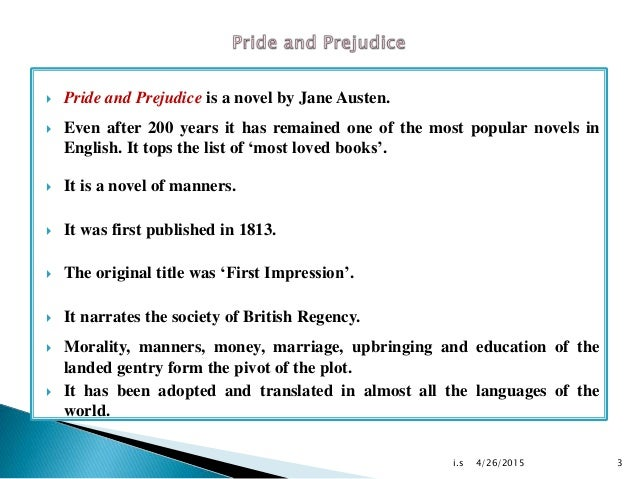 the importance of first impression in the book pride and prejudice The importance of first impressions  we were off to a good start  long-time  fan of pride and prejudice but this is the first time i've ever tried.
