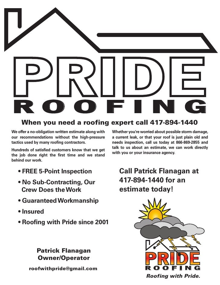 ROOFING When You Need A Roofing Expert Call 417 894 1440 We Offer A