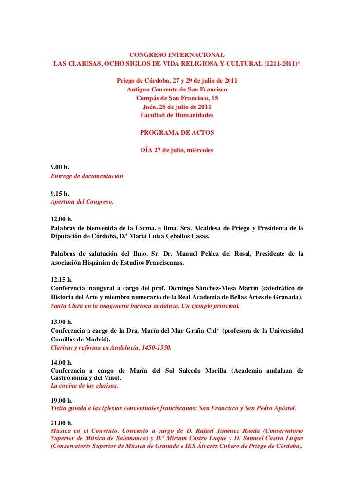CONGRESO INTERNACIONAL LAS CLARISAS, OCHO SIGLOS DE VIDA RELIGIOSA Y CULTURAL (1211-2011)*                         Priego ...