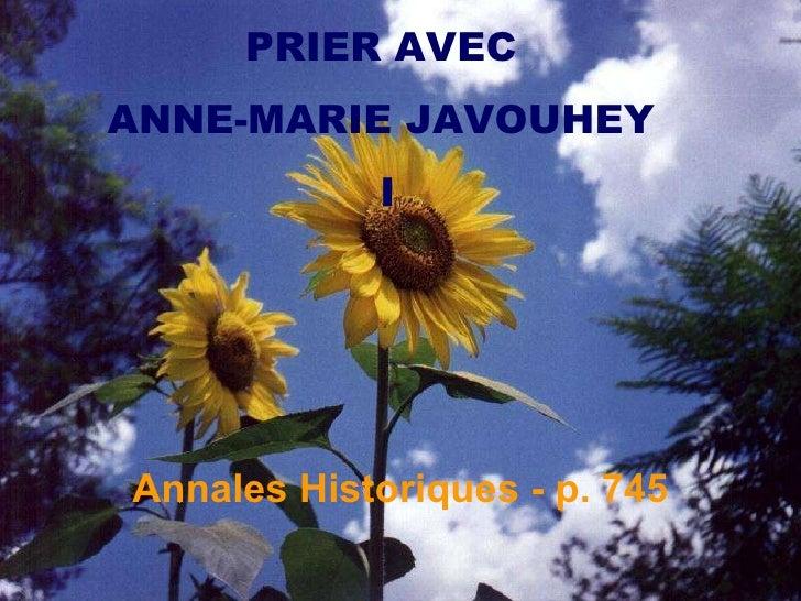 PRIER AVEC  ANNE-MARIE JAVOUHEY  I Annales Historiques - p. 745