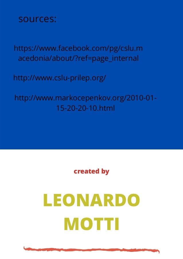 http://www.cslu-prilep.org/ https://www.facebook.com/pg/cslu.m acedonia/about/?ref=page_internal http://www.markocepenkov....